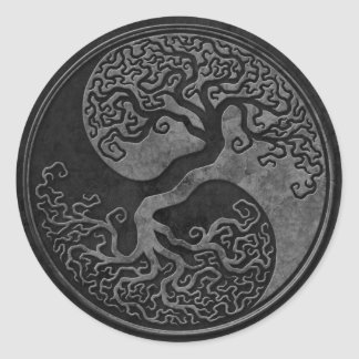 Dark Stone Yin Yang Trees Classic Round Sticker