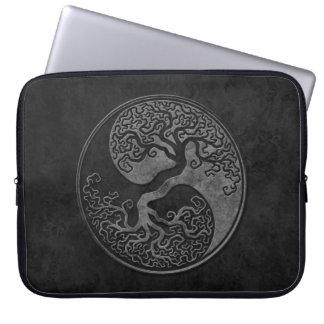 Dark Stone Yin Yang Trees Laptop Sleeve