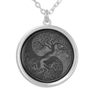 Dark Stone Yin Yang Trees Round Pendant Necklace