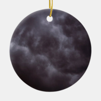Dark Storm Clouds Double-Sided Ceramic Round Christmas Ornament