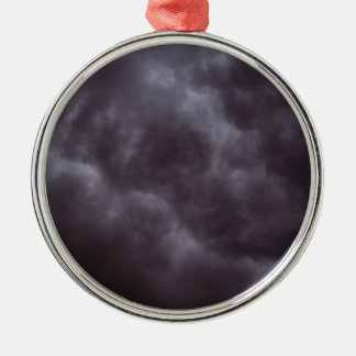 Dark Storm Clouds Round Metal Christmas Ornament