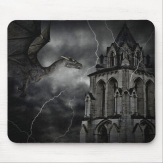 Dark stormy night gothic fantasy dragon mousepads