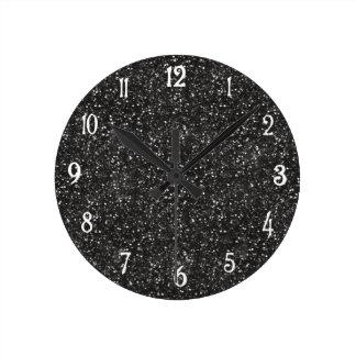 Dark Stylish Silver Grey Glitter Round Clock