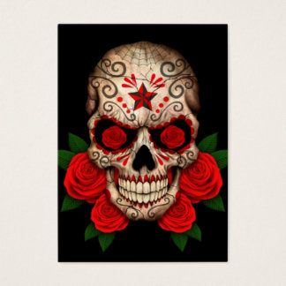 Dark Sugar Skull with Red Roses Business Card