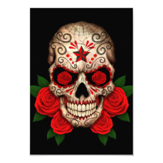 Dark Sugar Skull with Red Roses Card