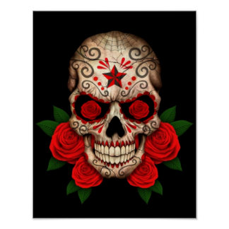 Dark Sugar Skull with Red Roses Poster