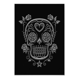 Dark Sugar Skull with Roses on Black Card
