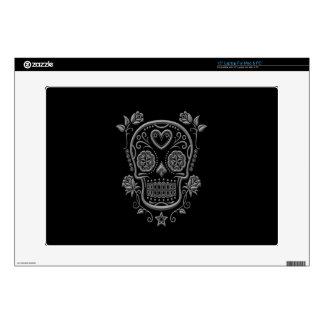 Dark Sugar Skull with Roses on Black Skin For Laptop