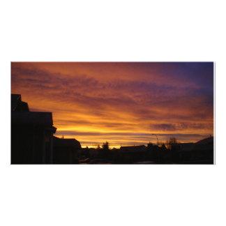 Dark sunrise customized photo card