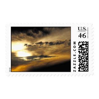 Dark sunset postage stamp