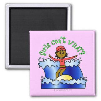 Dark Surfer Girl 2 Inch Square Magnet
