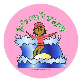 Dark Surfer Girl Classic Round Sticker