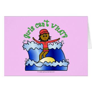 Dark Surfer Girl Greeting Card