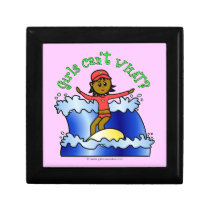Dark Surfer Girl on Surfboard Jewelry Boxes