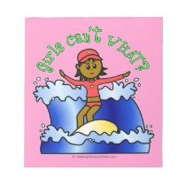 Dark Surfer Girl on Surfboard Note Pads
