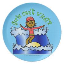 Dark Surfer Girl on Surfboard Party Plate