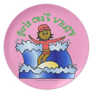 Dark Surfer Girl on Surfboard Party Plate