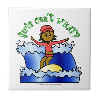 Dark Surfer Girl on Surfboard Small Square Tile