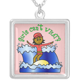 Dark Surfer Girl on Surfboard Square Pendant Necklace