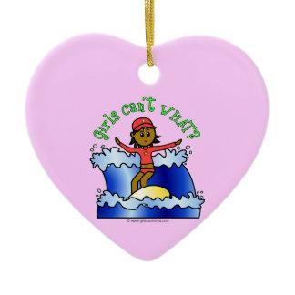 Dark Surfer Girl Double-Sided Heart Ceramic Christmas Ornament
