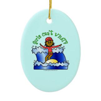 Dark Surfer Girl Double-Sided Oval Ceramic Christmas Ornament