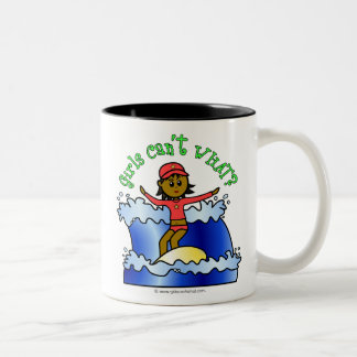 Dark Surfer Girl Two-Tone Coffee Mug