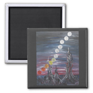 Dark Surrealistic Landscape Painting With Moons 2 Inch Square Magnet