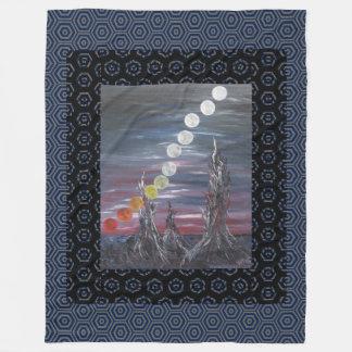 Dark Surrealistic Landscape Painting With Moons Fleece Blanket