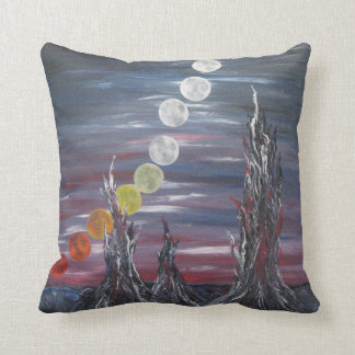 Dark Surrealistic Landscape Painting With Moons Pillow