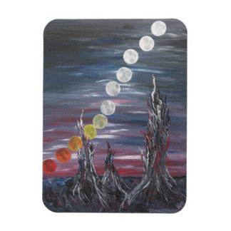 Dark Surrealistic Landscape Painting With Moons Rectangular Photo Magnet