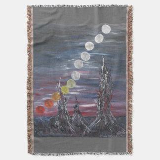 Dark Surrealistic Landscape Painting With Moons Throw