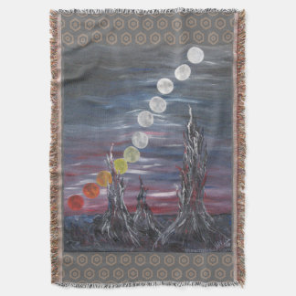 Dark Surrealistic Landscape Painting With Moons Throw Blanket