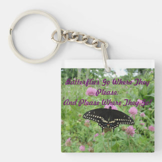 Dark Swallowtail Feeding On Clover Keychain