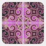 Dark Swirl Design Inspired by Portuguese Azulejos Square Sticker