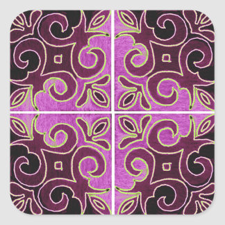 Dark Swirl Design Inspired by Portuguese Azulejos Square Sticker