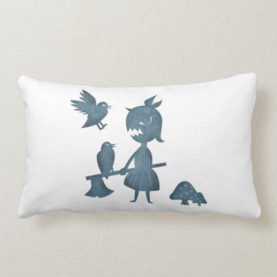 Dark Tales Axe Girl and Crows Lumbar Pillow