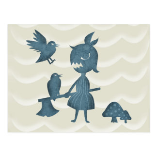 Dark Tales Axe Girl and Crows Postcard