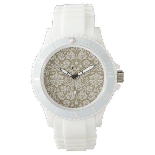 Dark Tan Damask Wrist Watch