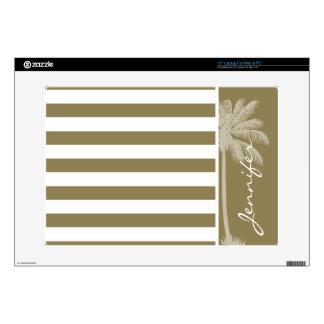 Dark Tan Horizontal Stripes; Palm Laptop Skin