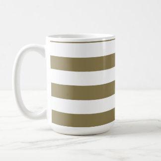 Dark Tan Horizontal Stripes; Striped Classic White Coffee Mug