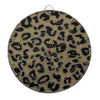 Dark Tan Leopard Animal Print Dartboard With Darts