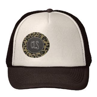 Dark Tan Leopard Print; Chalkboard look Trucker Hats