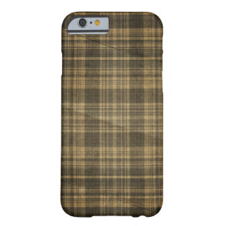 Dark Tan Plaid Creased Background Barely There iPhone 6 Case