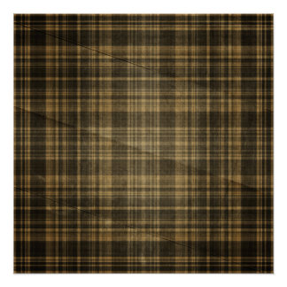 Dark Tan Plaid Creased Background Poster