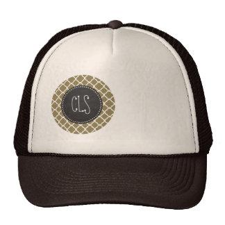 Dark Tan Quatrefoil; Retro Chalkboard Mesh Hats