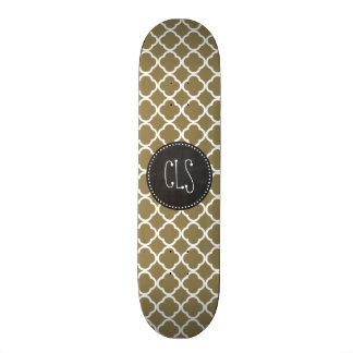 Dark Tan Quatrefoil; Retro Chalkboard Skateboard Deck