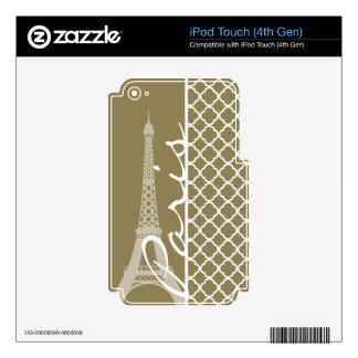 Dark Tan Quatrefoil iPod Touch 4G Decals