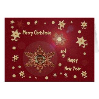 Dark Tan Snowflakes Card