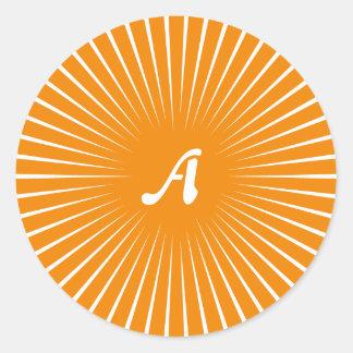Dark Tangerine and White Sunrays Monogram Round Stickers