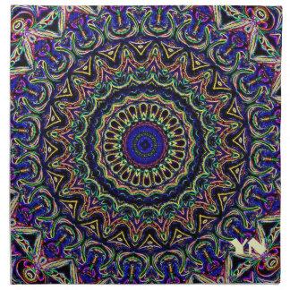 Dark Tapestry Kaleidoscope Monogrammed Cloth Napkin